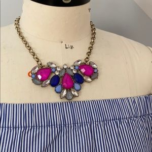 J crew Necklace with pink and blue stones